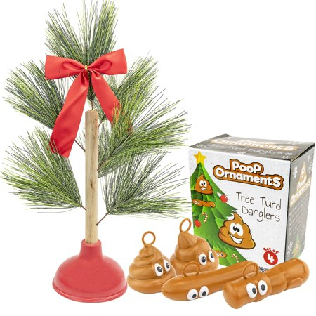 Plunger Tree With Poop Ornaments Collection ()
