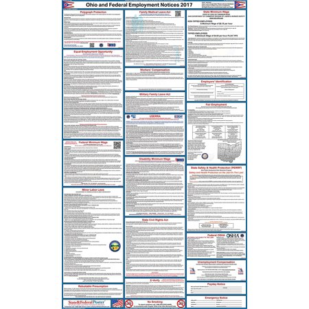 2017 Ohio State And Federal Labor Law Poster  Laminated