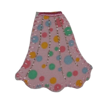 ID 7944 Polka Dot Skirt Patch Dress Sock Hop Fashion Embroidered IronOn Applique