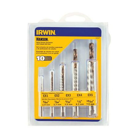 - Irwin Hanson 19/64 in. Carbon Steel Screw Extractor Kit 6 in. 10 pc.
