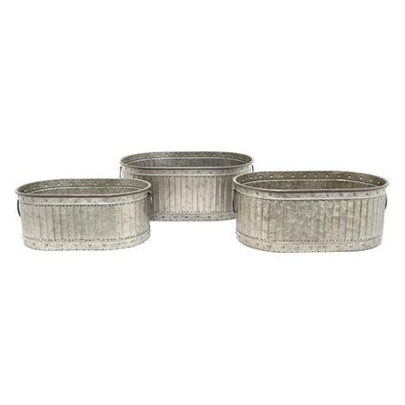 Three Hands Galvanized Metal Trough Planter - Set of 3