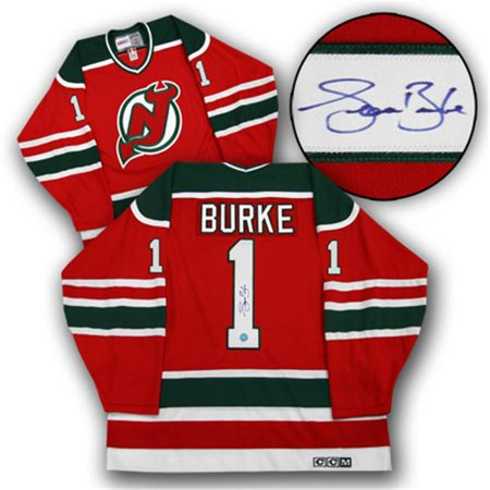 AJ Sports World BURS135000 SEAN BURKE New Jersey Devils SIGNED Retro Green & Red JERSEY by