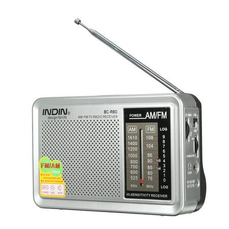 INDIN Portable Pocket HIFI Stereo Mini AM/FM Radio Receiver Bulit in Speaker Telescopic Antenna World Frequency W/ Outdoor Speaker Jack 3.5mm AUX Earphone Jack LED ()
