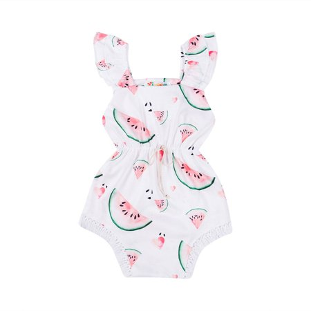 Summer Costume For Kids (Girls Bodysuit Summer Newborn Clothing Watermelon Print One Piece Jumpsuit Cotton Bodysuit Baby Costume Casual Baby Girl)