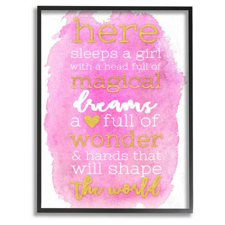 The Stupell Home Decor Collection Here Sleeps a Girl Pink and Gold Framed Giclee Texturized