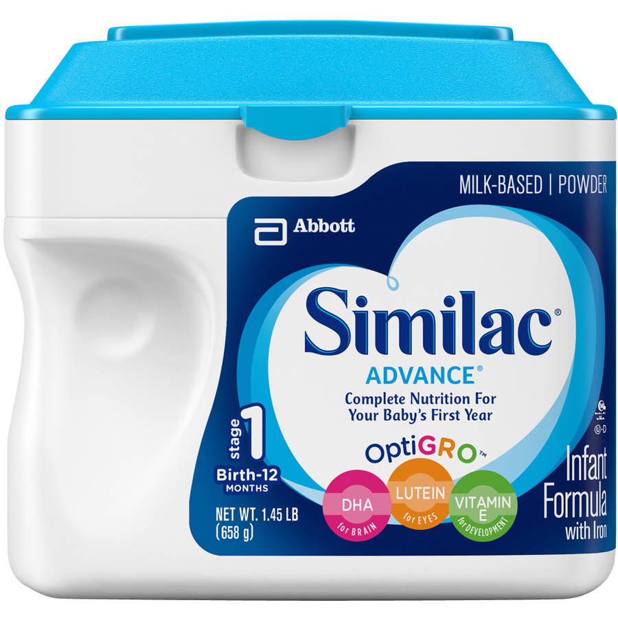 Similac Advance Infant Formula with Iron Powder, Stage 1, 1.45lb container, (Pack of 6)