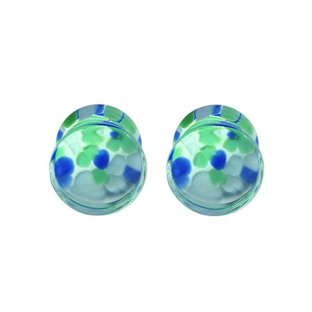 0g Organic Horn Plug (BodyJ4You® Plugs Glass Saddle Multicolor Pebble Earrings Stretching Set 0G 8mm Body Piercing Jewelry )