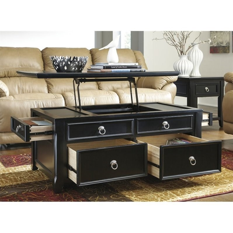 Ashley Greensburg Lift Top Coffee Table In Black Image 2 Of 3