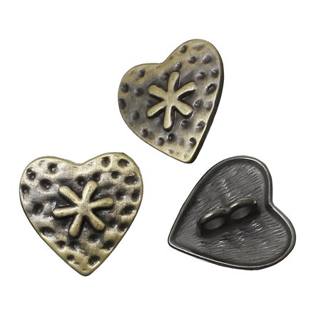 - 28 Heart Antiqued Brass Plated Zinc Sewing Metal Shank Buttons 3/4 Inch 19mm