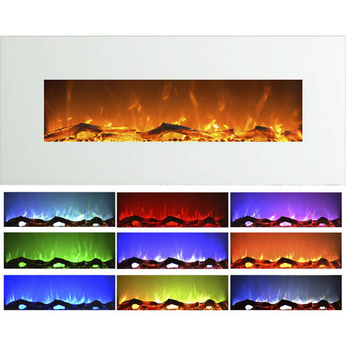 Electric Indoor Fireplace, Wall Mounted, Color Changing LED Flame and Remote, 50 Inch, By Northwest (White)