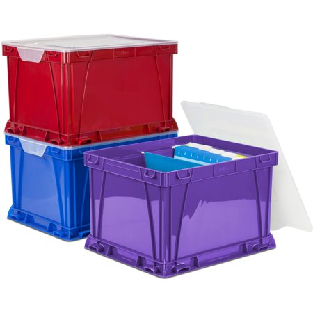 Storex, STX62012U03C, 3 Piece Cube Storage Bins, 3 / Set, Assorted Bright