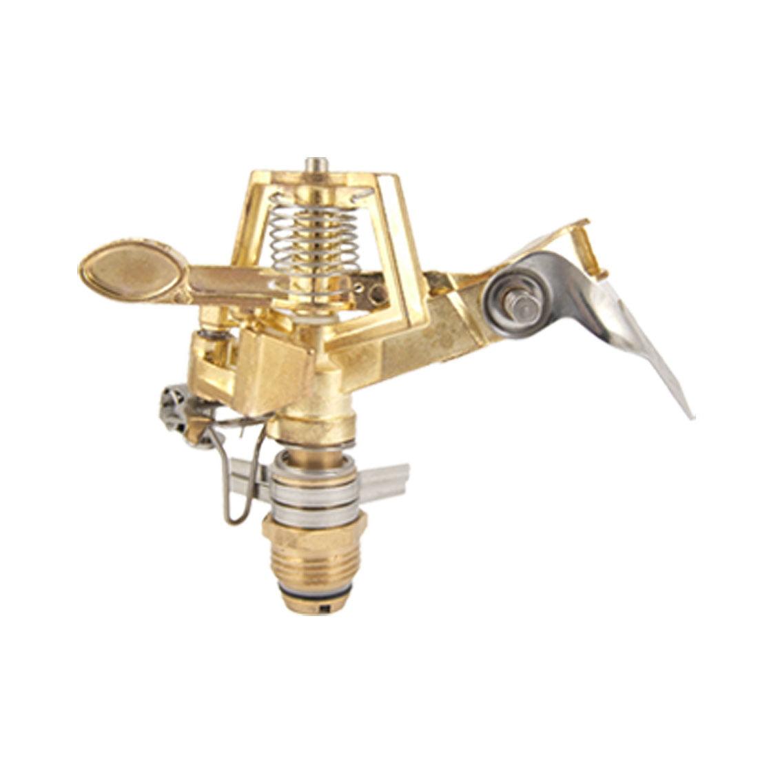 Unique Bargains Lawn Adjustable Nozzle Gold Tone Metal Arm Sprinkler