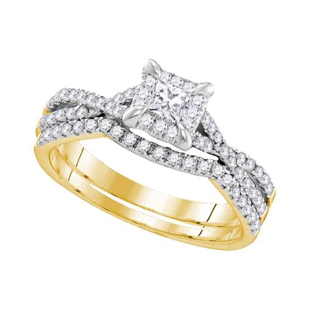 10Kt Yellow Gold Womens Round Diamond Square Halo Bridal Wedding Engagement Ring Band Set 5 8 Cttw