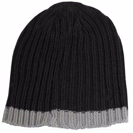 Isotoner A25038 Men's Black Cable Knit Beanie Cap With Grey Accent (Accented Knit)