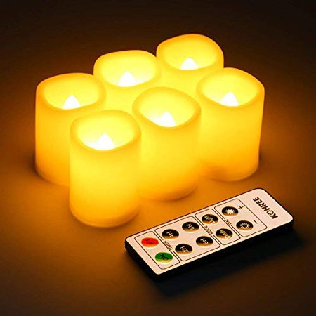 Kohree 6 Pcs LED Flameless Flickering Votive Pillar Candles,Battery Powered Operated Candles with Remote Control and Timer(battery included)Long Bulb Life for 10,000 Hours ()