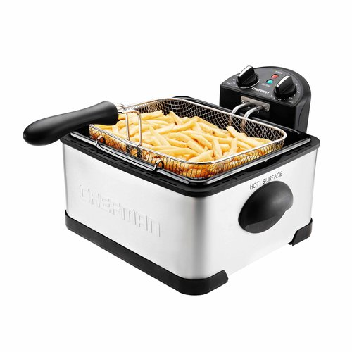 Chefman Deep Fryer - 4 Liter Stainless Steel Dual-Basket (Includes One 4-Liter and Two 2-Liter Baskets) with Temperature Control