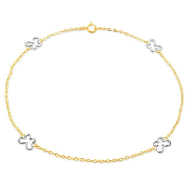 Two-Tone Diamond Cut Butterfly Anklet in 10K Gold - 9.5""