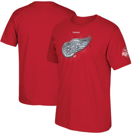 Detroit Red Wings Reebok 2017 Centennial Classic Silver and Ice T-Shirt - Red