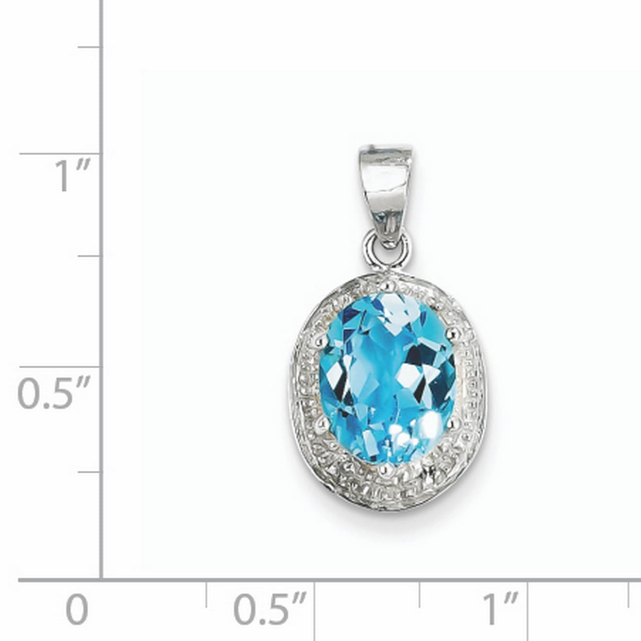 925 Sterling Silver Rhodium Light Swiss Blue Topaz and Diamond Oval Shaped Pendant - image 1 de 2