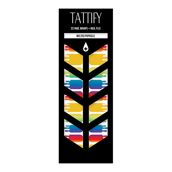 Tattify Rainbow Drip Nail Wraps - Melted Popsicle (Set of 22)