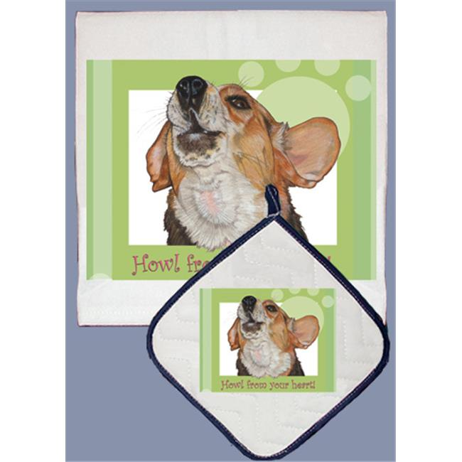 Pipsqueak Productions DP555 Dish Towel and Pot Holder Set - Beagle