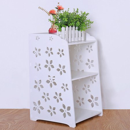 Retro Naturalism Style Bedroom Bedside Table Rack Cabinet Carved Flower Organizer Night Stand US  - image 5 de 6