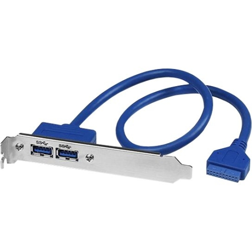 StarTech 2 Port USB 3.0 A Female Slot Plate Adapter - USB for Motherboard - 500mm - 1 Pack - 2 x Type A Female USB - 1 x IDC Female Motherboard - Blue