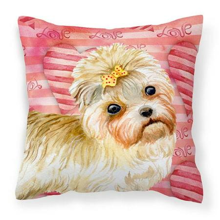 Carolines Treasures BB9755PW1414 Morkie Love Fabric Decorative Pillow - image 1 de 1