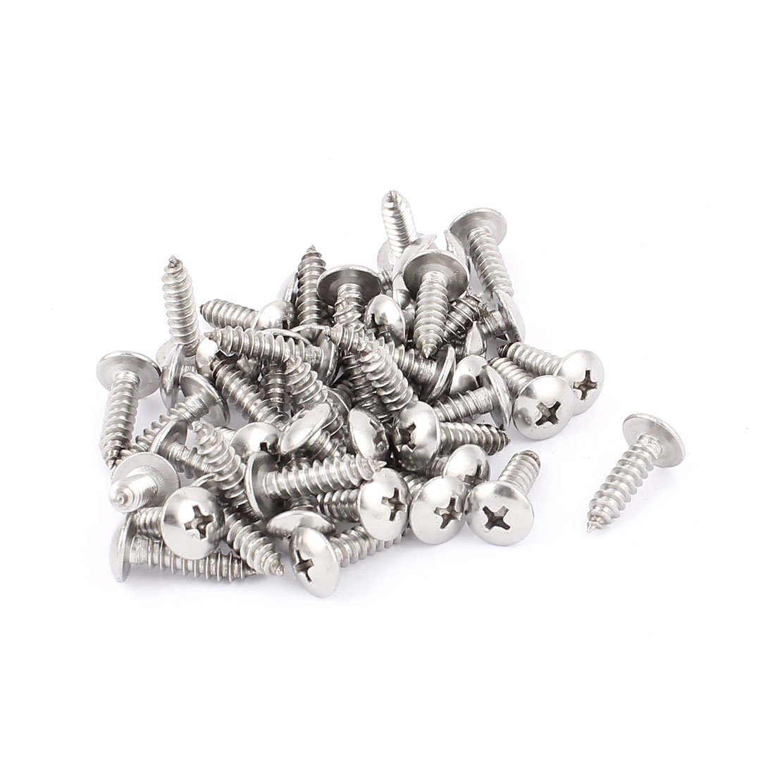 4.8mm x 20mm Stainless Steel Phillips Truss Head Self Tapping Screw 50 Pcs