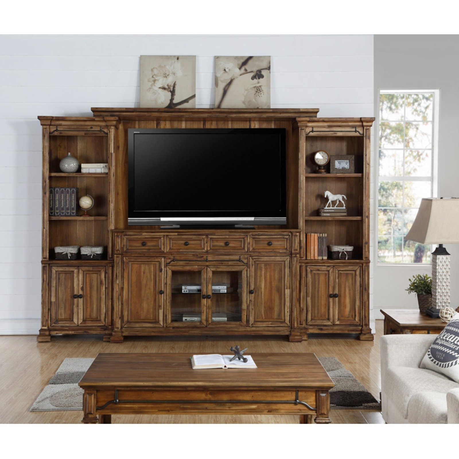 Legends Furniture Barclay Entertainment Wall Console with Optional Wall Piers and Bridge/Back Panel