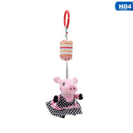 Fancyleo Cartoon Animal Pig Baby Toys Infant Mobile Plush Newborn Toy 0-12 Months Bed Wind Chimes Rattles Crib Bed Hanging Bell Toys
