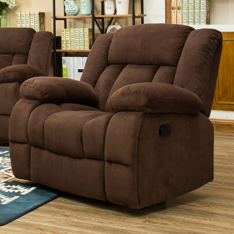 Traditional Brown Fabric Glider Recliner Chair