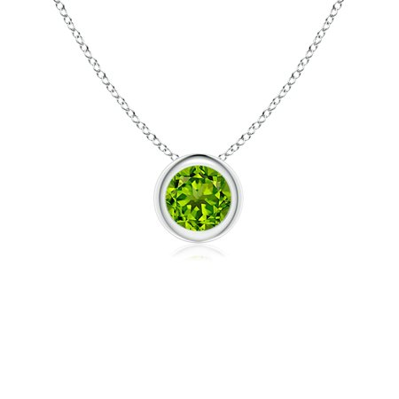 Bezel-Set Round Peridot Solitaire Pendant in 14K White Gold (4mm Peridot) - SP0159P-WG-AAAA-4