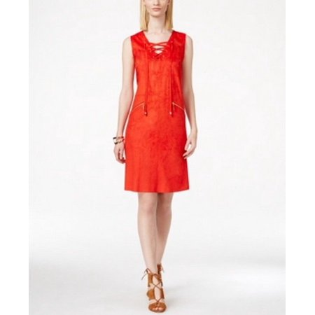 INC International Concepts Lace-Up Moleskin Women Dress CHERRY RED -