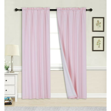 Linden Window Treatments - 2PC PINK BLACKOUT PANEL LINEN WHITE BACKING ROD POCKET PRIVACY WINDOW CURTAIN TREATMENT 37