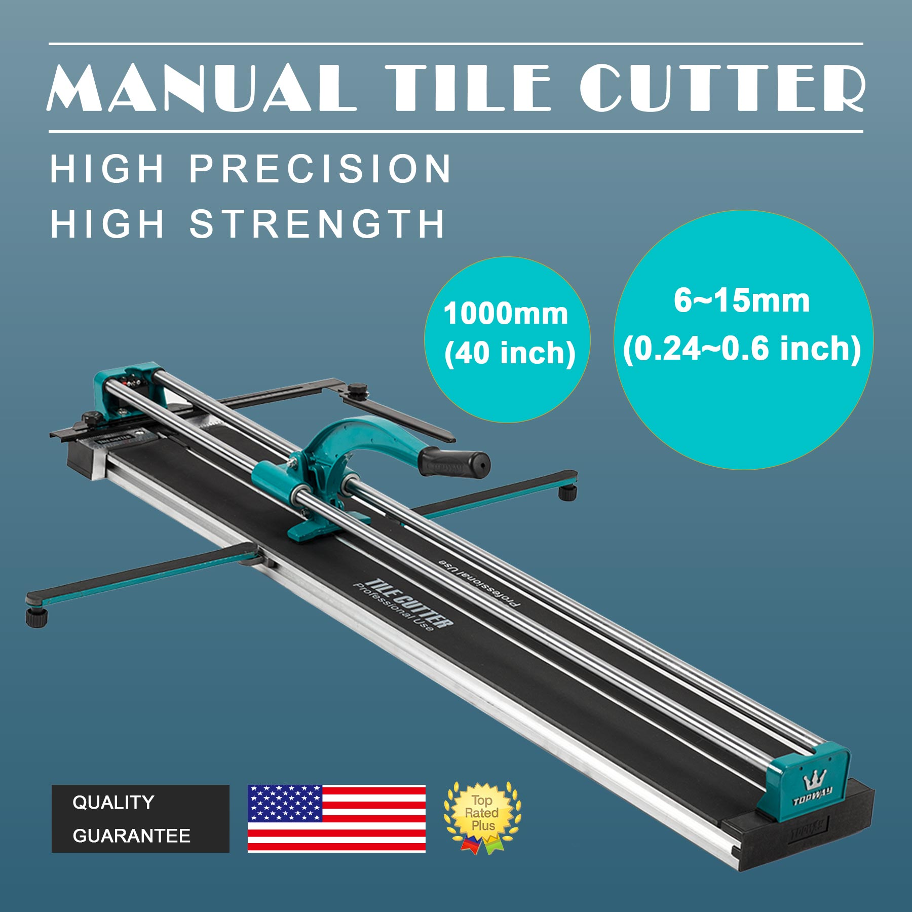 """48"""" Manual Tile Cutter Cutting Machine Durable Adjustable Laser Guide"""