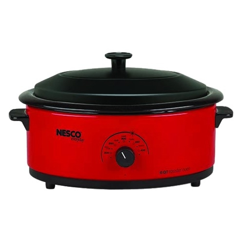 Nesco 4816-12 6-Qt. Red Roaster Oven with Porcelain Cookwell