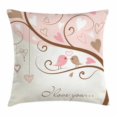 Love Throw Pillow Cushion Cover, Birds on Branch Abstract Heart Shapes Nature Environment Ornate Romance Print, Decorative Square Accent Pillow Case, 16 X 16 Inches, Blush Brown Beige, by Ambesonne