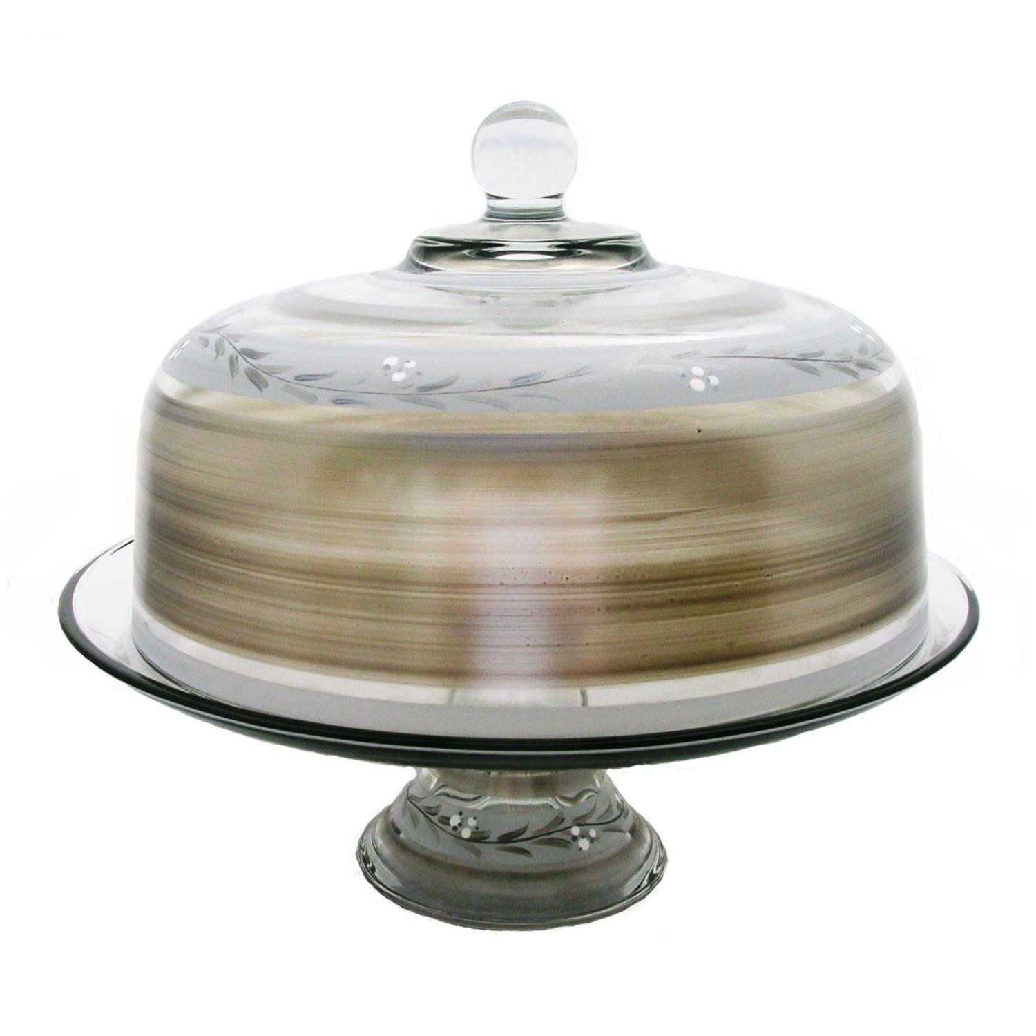 Pewter Vine Hand Painted Glass Convertible Cake and Pie Dessert Dome 13""