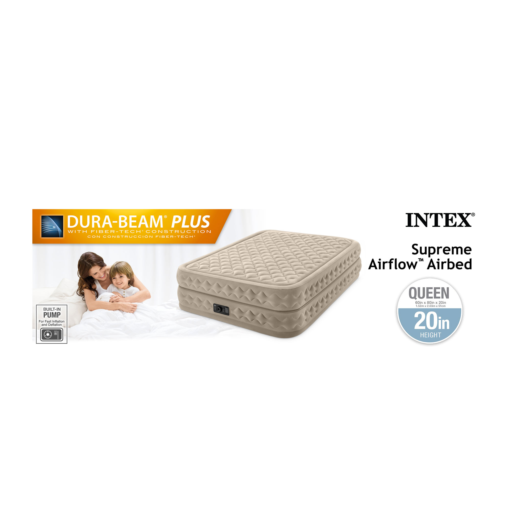 Intex Queen 20 Inch Durabeam Supreme Air Flow Airbed Mattress W Built In Pump Walmart Com Walmart Com