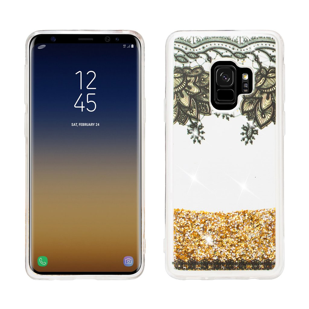 Galaxy S9 Case, Samsung Galaxy S9 Luxury Bling Liquid Glitter Case, Sparkle Quicksand Case Cover - Gold Top Flower