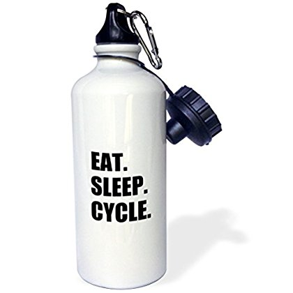 3dRose Eat Sleep Cycle - passionate about cycling - bicycle enthusiast gifts, Sports Water Bottle, 21oz