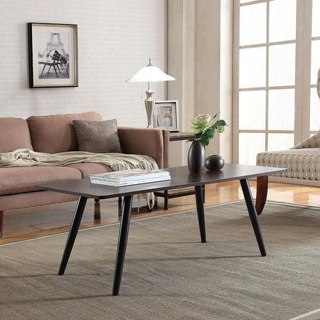 "GHP 43""x18""x22"" Brown & Black MDF Frame 4 Long Legs Soft Curve Edges Large Coffee Table"