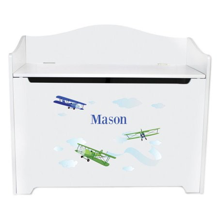 - Personalized Airplane Toy Box Bench Custom
