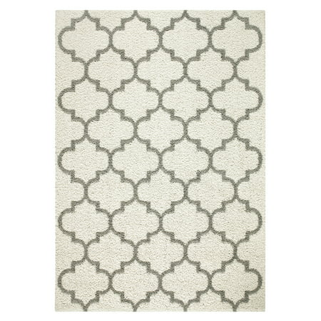 Mainstays Trellis 2-Color Textured Olefin Shag Area Rug and Runner ()