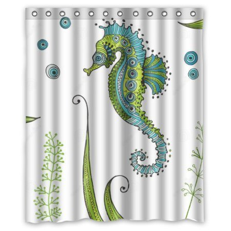 HelloDecor Seahorse Shower Curtain Polyester Fabric Bathroom Decorative Size 60x72 Inches