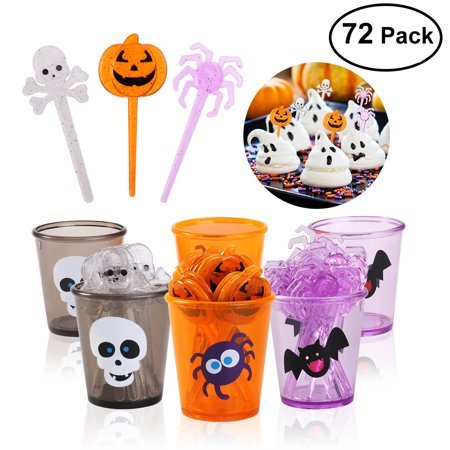 PBPBOX Halloween Picks Set Cupcake Topper Decorative Cupcake or Appetizer Picks (Pumpkin + Spider + Skull)