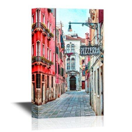 wall26 Canvas Wall Art - Quaint Street in Historic Venice, Italy with Pizzeria Sign - Gallery Wrap Modern Home Decor | Ready to Hang - 32x48 inches