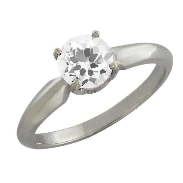 1.00 Ct Round White Topaz Sterling Silver Ring
