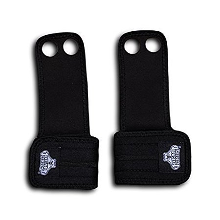 Bear Grips: Two Hole Gymnastic Hand Grips, Premium Suede Leather Hand Protection From Blisters And Calluses From Wods, Pull-ups, Olympic Weight Lifting (Black, Small, Pair: Two Per Package)